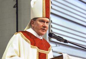 Steubenville Bishop Jeffrey Monforton speaks in Steubenville, Ohio. The Associated Press has learned