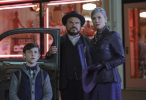 This image released by Universal Pictures shows Owen Vaccaro, from left, Jack Black and Cate Blanche