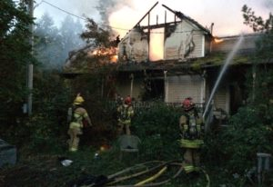 Clark County firefighters responded to a fire Monday morning at what is believed to be an abandoned