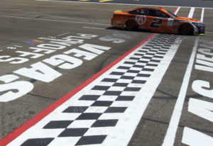 Brad Keselowski drives past the start/finish line during a NASCAR Cup Series auto race Sunday, Sept.