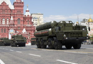 Russian the S-300 air defense missile systems drive during the Victory Day military parade marking 7