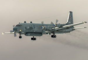 The Russian Il-20 electronic intelligence plane of the Russian air force with the registration numbe