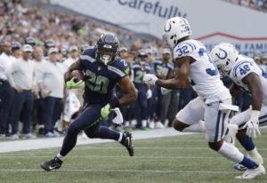 Seattle Seahawks running back Rashaad Penny (20). (AP Photo/Elaine Thompson, file)