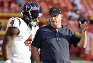Houston Texans quarterback Deshaun Watson (4) with head coach Bill O'Brien. (AP Photo/Ed Zurga, File