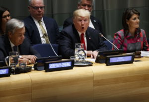United Nations Secretary General Antonio Guterres, left, and U.S. Ambassador to the United Nations N