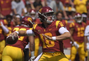 FILE - In this Sept. 1, 2018, file photo, Southern California quarterback J.T. Daniels passes during