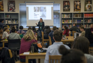 Carolyn Long speaks Tuesday with students at Camas High School about how they can get involved polit