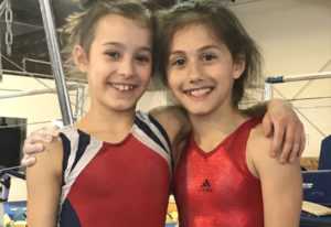 Local gymnasts Athena Lee, left, and Hadley Palmerton were selected to compete in Indianapolis this