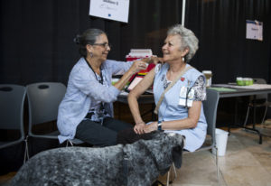 Registered nurse Eileen Langford, left, administers a flu shot to hospital volunteer Gail Greer duri