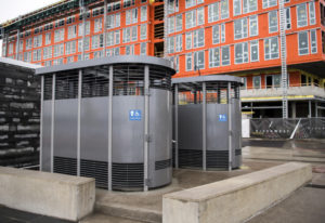Portland Loos were recently installed at Vancouver Waterfront Park, just east of the building housin