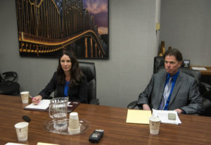 Alishia Topper, left, and Robert Hinds each make their case to The Columbian's Editorial Board for w