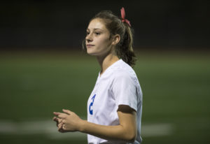 Autumn McMahon looks to the sideline during a game against Evergreen at McKenzie Stadium on Wednesda