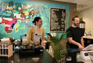Seidy and Matthew Selivanow behind the counter of their new Coffee Lab. RACHEL PINSKY
