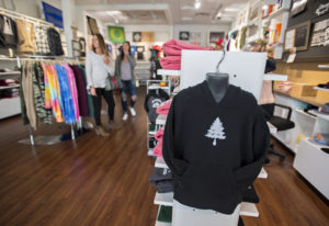 A hoodie with the Northwest-inspired company logo is seen on display at EYE Clothing Co. in Vancouve