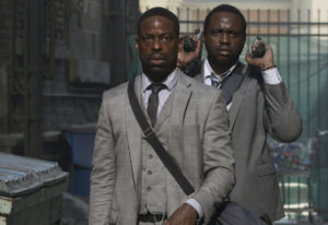 "Sterling K. Brown, left, and Brian Tyree Henry star in ""Hotel Artemis."" Matt Kennedy/Global Road Ent"