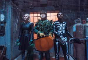 """Madison Iseman, from left, Jeremy Ray Taylor and Caleel Harris appear in a scene from """"Goosebumps 2:"""