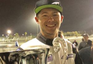 Travis Reeder, a Columbia River High graduate, holds the Formula Drift Pro2 season championship trop