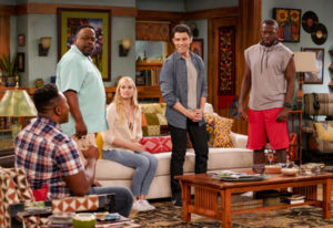 Cedric the Entertainer, second from left, stars with Marcel Spears, from left, Beth Behrs, Max Green