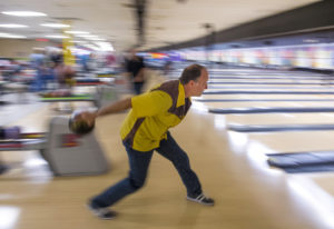 Scott Alexander of Hockinson prepares his throw while bowling in the The Lutheran Mixed Bowling Leag