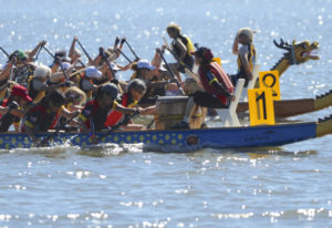 Teams compete at the Pacific Dragon Boat Association Championship races at Vancouver Lake on August