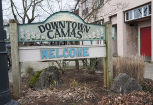 A sign welcomes visitors to downtown Camas. (The Columbian files)