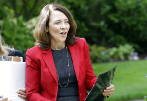 FILE - In this Sept. 10, 2018, file photo, Sen. Maria Cantwell, D-Wash., is shown at a gathering in