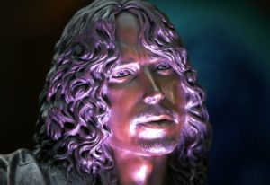 The statue of Soundgarden frontman Chris Cornell appears Sunday, Oct. 7, 2018, after its unveiling o