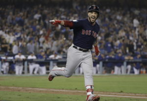 Boston Red Sox's Steve Pearce celebrates his second home run during the eighth inning in Game 5 of t