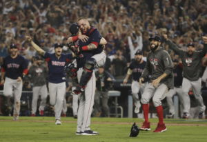The Boston Red Sox celebrate after Game 5 of baseball's World Series against the Los Angeles Dodgers