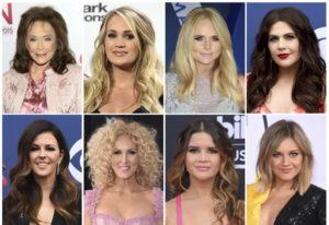 Top row from left, Loretta Lynn, Carrie Underwood, Miranda Lambert, Hillary Scott, bottom row from l