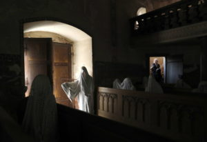 French tourists visit the church of Saint George in the village of Lukava, Czech Republic. In the ye