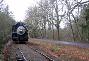 A train chugs down the Chelatchie Prairie Railroad . (The Columbian files)