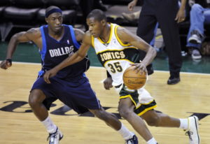 From 2008, Seattle SuperSonics' Kevin Durant (35) tries to drive past Dallas Mavericks' Jo