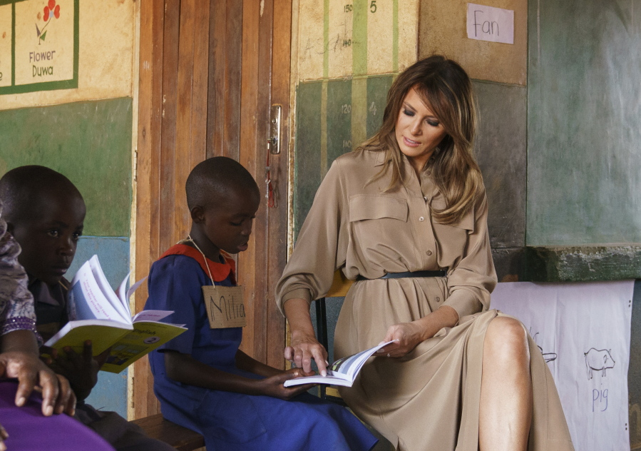 Melania Trump feeds baby elephants and goes on safari in Kenya
