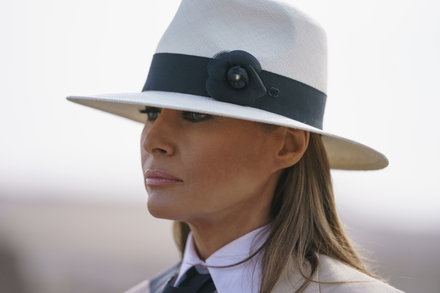 First lady Melania Trump pauses as she speaks to media during a visit to the historical Giza Pyramid