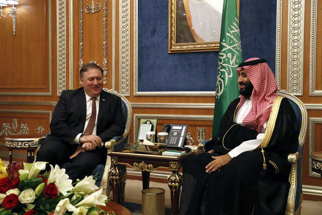 U.S. Secretary of State Mike Pompeo meets with the Saudi Crown Prince Mohammed bin Salman in Riyadh