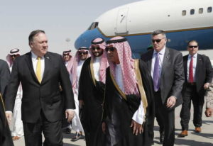 U.S. Secretary of State Mike Pompeo, left, walks with Saudi Foreign Minister Adel al-Jubeir, after a