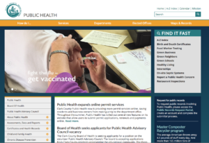 The homepage for Clark County Public Health.