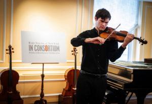 "Juilliard student Nathan Meltzer, recipient of the ""Ames, Totenberg"" Stradivari of 1734, plays the i"