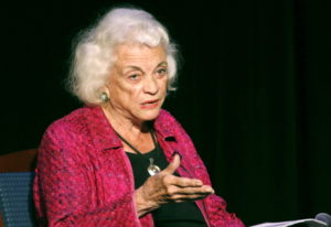 Retired U.S. Supreme Court Justice Sandra Day O'Connor speaks during a lecture, in Concord, N.H. O'C