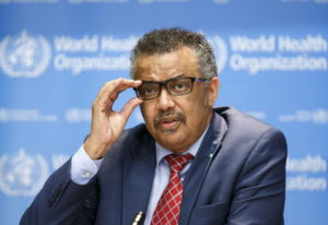Tedros Adhanom Ghebreyesus, Director General of the World Health Organization (WHO), speaks to the m
