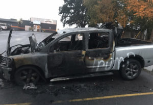 Johnny MacKay's pickup was set on fire overnight Monday after he left it in the parking lot at Garag