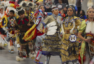 Dancers perform Saturday during the Grand Entry at the 19th annual Cowlitz Pow Wow at the Clark Coun