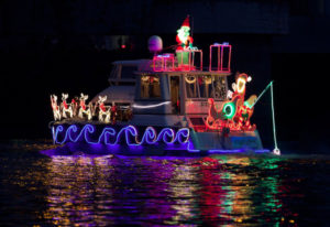 This is the Bubinga, piloted by Larry and Betty Aberg of Vancouver. The annual Christmas Ships Parad