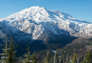 Mount St. Helens is viewed from the east-northeast in January. Commissioners from Cowlitz, Lewis and