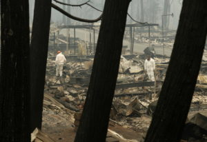 A search and rescue workers search for human remains at a burned out trailer park from the Camp fire