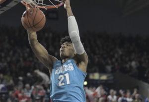 Gonzaga forward Rui Hachimura dunks over Idaho State in the first half of an NCAA college basketball