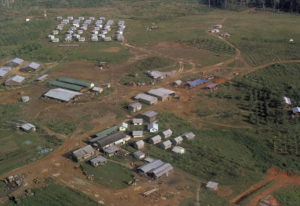 FILE - This November 1978 file photo shows the Peoples Temple compound, led by Jim Jones, after bodi
