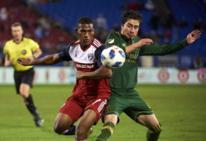 Portland Timbers defender Jorge Villafana, right, is back with the Portland Timbers for a second sti