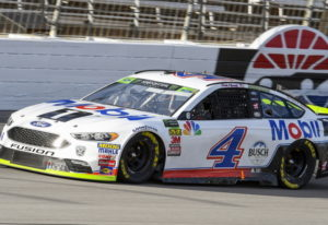Kevin Harvick races down the front stretch during a NASCAR Cup auto race at Texas Motor Speedway, Su